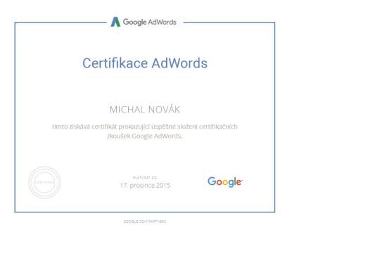 Certifikace Adwords Michal Novák  2015