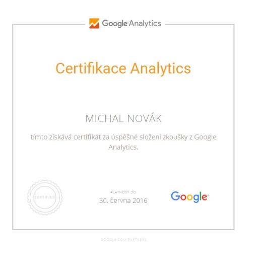 Certifikace Google Analytics Michal Novák  2016